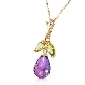 14K. SOLID GOLD NECKLACE WITH AMETHYST & PERIDOTS